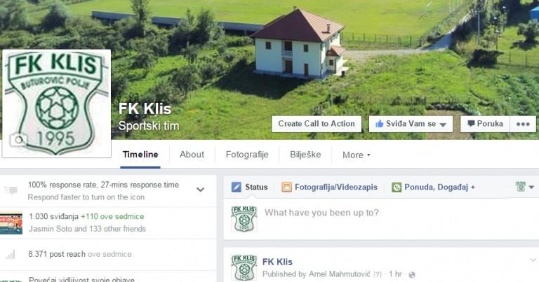 """Facebook: FK Klis ušao u """"klub 1 000"""""""